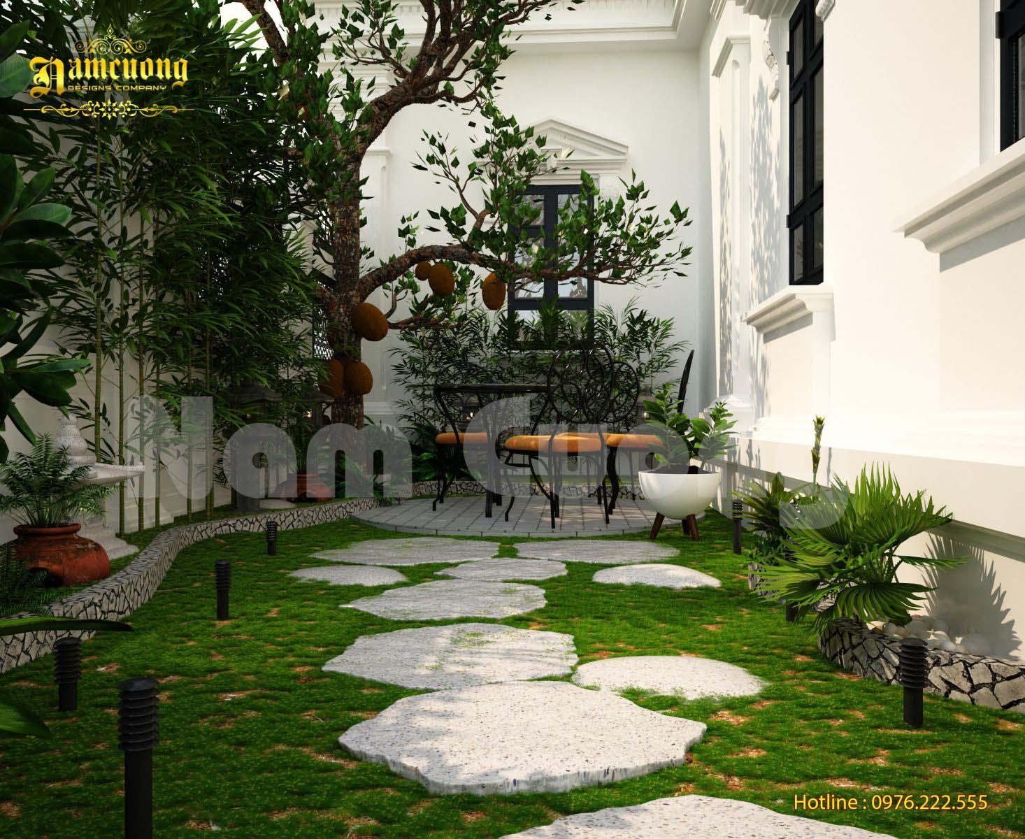 Thiết kế tiểu cảnh sân vườn của ngôi biệt thự tân cổ điển tại Quảng Bình